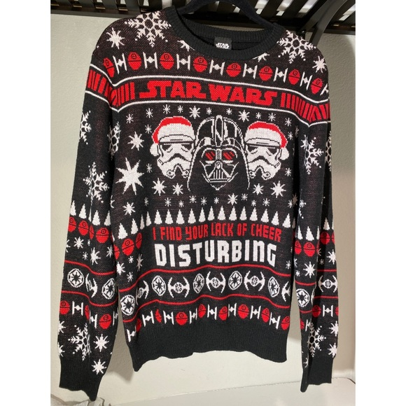 Star Wars Christmas sweater large black white red